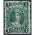 AUSTRALIA / QLD - 1886 £1 deep green Large Chalon on thick paper, used - SG # 161
