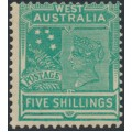 AUSTRALIA / WA - 1902 5/- emerald-green Queen Victoria, V crown watermark, MH – SG # 126