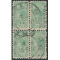 AUSTRALIA / VIC - 1905 ½d blue-green Queen Victoria block of 4, used - SG # 416