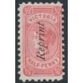 AUSTRALIA / VIC - 1891 ½d rosine Bantam, overprinted REPRINT, unused