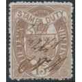 AUSTRALIA / VIC - 1885 15/- purple-brown Stamp Duty, perf. 12½, used – SG # 273