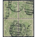 AUSTRALIA / VIC - 1907 6d green QV, p.12½, crown over A watermark, B/4, used – SG # 423a