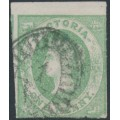 AUSTRALIA / VIC - 1858 1d pale emerald Queen Victoria Emblems, used – SG # 62