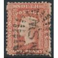 AUSTRALIA / NSW - 1860 1d dull red Diadem, perf. 13:13, '1' watermark, used – SG # 155