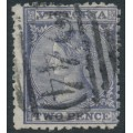 AUSTRALIA / VIC - 1864 2d dull violet Laureates, perf. 12, '2' watermark, used – SG # 109a