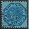 AUSTRALIA / VIC - 1875 1/- blue octagonal Laureates, perf. 13, V crown watermark, used – SG # 138