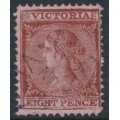 AUSTRALIA / VIC - 1880 8d red-brown/pink Laureates, perf. 12, V crown watermark, used – SG # 146