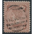 AUSTRALIA / VIC - 1873 9d pale brown/pink Queen, perf. 13, '10' watermark, used – SG # 172