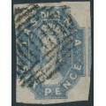 AUSTRALIA / TAS - 1860 6d dull slate-grey Chalon, imperforate, '6' watermark, used – SG # 44
