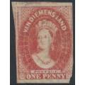 AUSTRALIA / TAS - 1867 1d carmine Chalon, imperf., '1' watermark, used – SG # 29