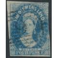 AUSTRALIA / TAS - 1857 4d cobalt-blue Chalon, imperf., '4' watermark, used – SG # 39