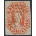 AUSTRALIA / TAS - 1858 1/- vermillion Chalon, imperf., '12' watermark, used – SG # 41