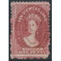 AUSTRALIA / TAS - 1865 1d carmine Chalon, perf. 12:12, '1' watermark, used – SG # 70