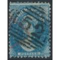 AUSTRALIA / TAS - 1865 4d deep blue Chalon, perf. 12:12, '4' watermark, used – SG # 72