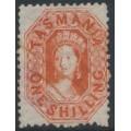 AUSTRALIA / TAS - 1865 1/- vermillion Chalon, perf. 12:12, '12' watermark, used – SG # 77