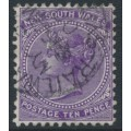 AUSTRALIA / NSW - 1897 10d violet QV, perf. 12:12, crown NSW watermark, used – SG # 236ec