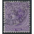 AUSTRALIA / NSW - 1897 10d violet QV, perf. 12:12, crown NSW watermark, used – SG # 236ec
