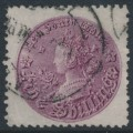 AUSTRALIA / NSW - 1897 5/- reddish purple Coin, perf. 11:11, '5/-' watermark, used – SG # 297c