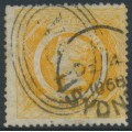 AUSTRALIA / NSW - 1860 8d yellow-orange Diadem, perf. 13:13, '8' watermark, used – SG # 167b