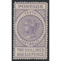 AUSTRALIA / SA - 1909 2/6 pale violet 'Long Tom', thick POSTAGE, crown A watermark, MH – SG # 304a