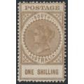 AUSTRALIA / SA - 1904 1/- brown Long Tom, thick POSTAGE, crown SA watermark, MH – SG # 288