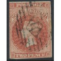 AUSTRALIA / SA - 1856 2d red Queen Victoria [Adelaide printing], used – SG # 9