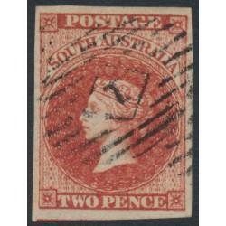 AUSTRALIA / SA - 1856 2d red QV [Adelaide printing], '1' numeral postmark – SG # 9