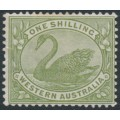 AUSTRALIA / WA - 1907 1/- olive-green Swan, W crown A watermark, mint hinged – SG # 116