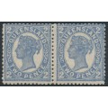 AUSTRALIA / QLD - 1897 2d blue QV side-face pair, crown Q watermark with printing flaw, MH – SG # 234