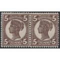 AUSTRALIA / QLD - 1897 5d purple-brown QV side-face pair, crown Q watermark, mint hinged – SG # 246