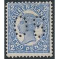 AUSTRALIA / QLD - 1908 2d blue QV side-face, crown A watermark, perf. OS, MH – ACSC # Q20Ab