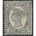 AUSTRALIA / QLD - 1909 4d grey-black QV side-face, crown A watermark, MH – SG # 294