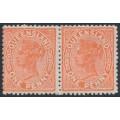 AUSTRALIA / QLD - 1890 1d vermillion-red QV side-face pair, crown Q watermark, MH – SG # 187