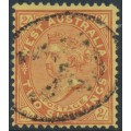 AUSTRALIA / WA - 1911 2/- brownish red/yellow QV, line perf. 12½, upright V crown watermark, used – SG # 124c