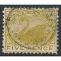AUSTRALIA / WA - 1905 5d pale olive-bistre Swan, perf. 12½, crown A watermark, used – SG # 143