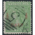 AUSTRALIA / VIC - 1873 ½d on 1d green Queen Victoria, perf. 13, used – SG # 174