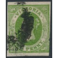 AUSTRALIA / VIC - 1857 1d deep green Emblems, imperf., large star watermark, used – SG # 41a
