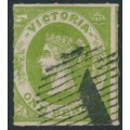 AUSTRALIA / VIC - 1858 1d emerald-green Emblems, no watermark, rouletted, used – SG # 62a