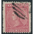 AUSTRALIA / VIC - 1866 4d rose-red Laureates, '4' watermark, perf. 12:13, used – SG # 121a
