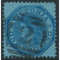 AUSTRALIA / VIC - 1875 1/- light blue/blue octagonal QV, V crown watermark, perf. 13, used – SG # 138