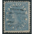 AUSTRALIA / VIC - 1869 6d dull blue Laureates, THREE PENCE watermark, used – SG # 165