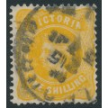 AUSTRALIA / VIC - 1901 1/- yellow Queen Victoria without POSTAGE, used – SG # 381