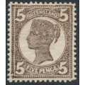AUSTRALIA / QLD - 1907 5d dull brown QV side-face, perf. 13:13, crown A watermark, MH – SG # 295