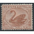 AUSTRALIA / WA - 1895 3d red-brown Swan with crown CA watermark, MH – SG # 87