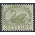 AUSTRALIA / WA - 1890 1/- pale olive-green Swan with crown CA watermark, MH – SG # 101