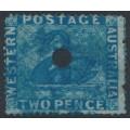 AUSTRALIA / WA - 1861 2d blue Swan, perf. 14-16, swan watermark, official puncture, used – SG # 34