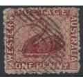 AUSTRALIA / WA - 1861 1d rose-carmine Swan, perf. 14-16, swan watermark, used – SG # 44