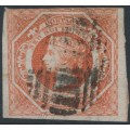 AUSTRALIA / NSW - 1854 1/- rosy vermillion Diadem, imperforate with '12' watermark, used – SG # 99
