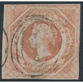 AUSTRALIA / NSW - 1854 1/- pale red Diadem, imperforate with '12' watermark, used – SG # 100