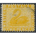 AUSTRALIA / WA - 1879 2d yellow Swan, perf. 12½, sideways crown CC watermark, used – SG # 55a